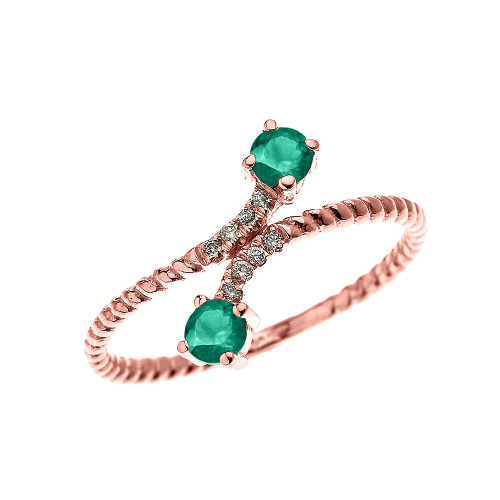 Rose Gold Dainty Two Stone Emerald and Diamond Rope Design Promise Ring