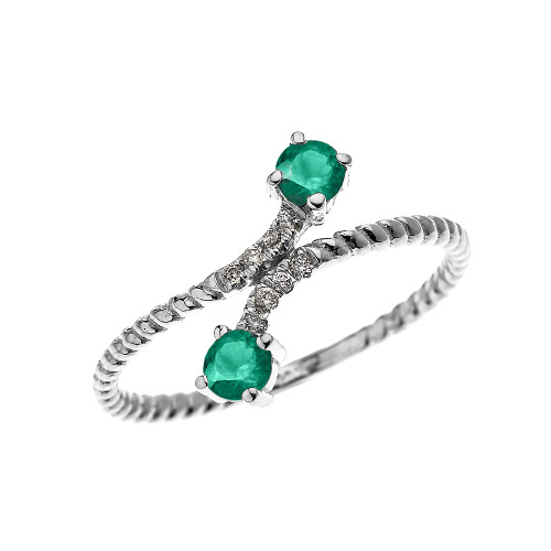 White Gold Dainty Two Stone Emerald and Diamond Rope Design Promise Ring