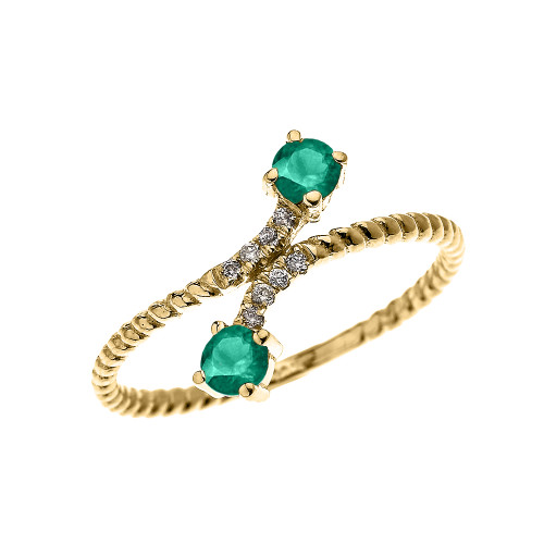 Yellow Gold Dainty Two Stone Emerald and Diamond Rope Design Promise Ring