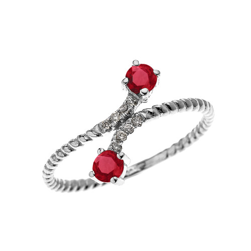 White Gold Dainty Two Stone Ruby and Diamond Rope Design Promise Ring
