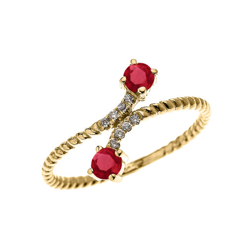 Yellow Gold Dainty Two Stone Ruby and Diamond Rope Design Promise Ring