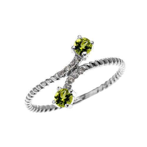 White Gold Dainty Two Stone Peridot and Diamond Rope Design Promise Ring