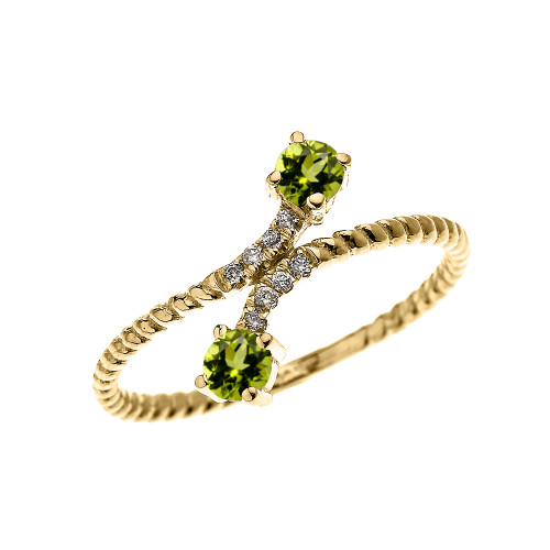 Yellow Gold Dainty Two Stone Peridot and Diamond Rope Design Promise Ring