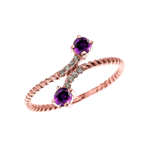Rose Gold Dainty Two Stone Amethyst and Diamond Rope Design Promise Ring