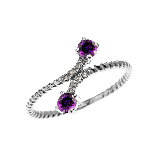 White Gold Dainty Two Stone Amethyst and Diamond Rope Design Promise Ring
