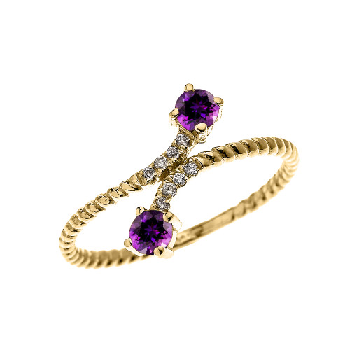 Yellow Gold Dainty Two Stone Amethyst and Diamond Rope Design Promise Ring