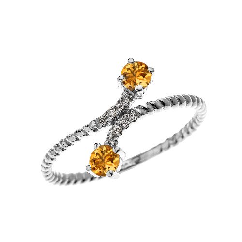 White Gold Dainty Two Stone Citrine and Diamond Rope Design Promise Ring