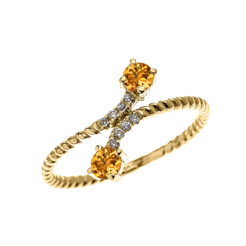 Yellow Gold Dainty Two Stone Citrine and Diamond Rope Design Promise Ring