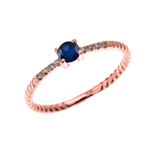 Rose Gold Dainty Solitaire Sapphire and Diamond Rope Design Engagement/Proposal/Stackable Ring