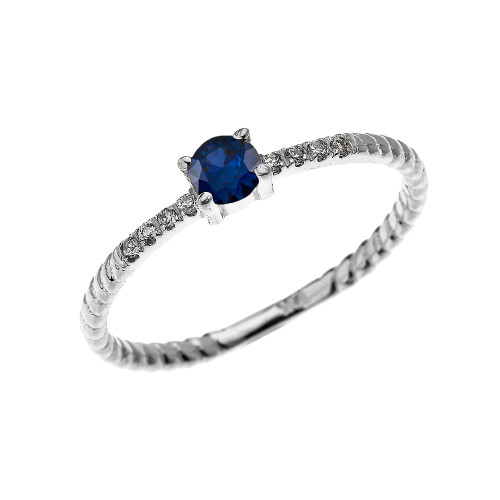 White Gold Dainty Solitaire Sapphire and Diamond Rope Design Engagement/Proposal/Stackable Ring