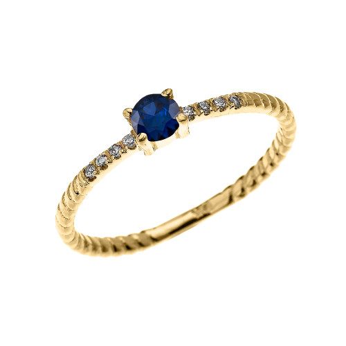 Yellow Gold Dainty Solitaire Sapphire and Diamond Rope Design Engagement/Proposal/Stackable Ring