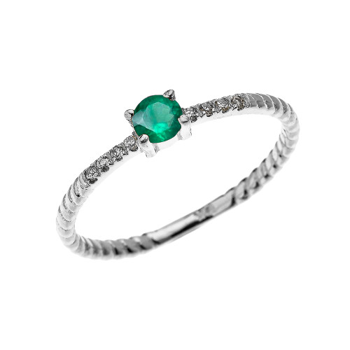White Gold Dainty Solitaire Emerald and Diamond Rope Design Engagement/Proposal/Stackable Ring