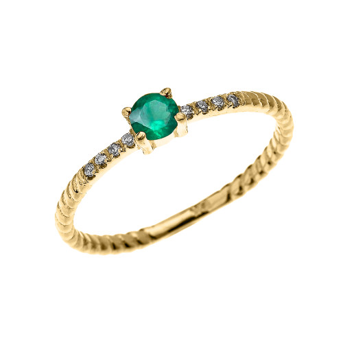Yellow Gold Dainty Solitaire Emerald and Diamond Rope Design Engagement/Proposal/Stackable Ring