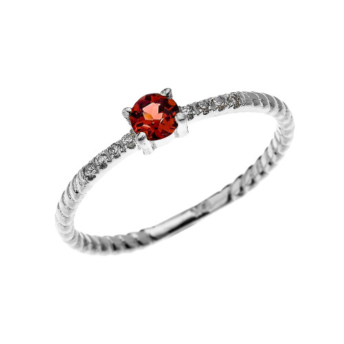 White Gold Dainty Solitaire Garnet and Diamond Rope Design Engagement/Proposal/Stackable Ring