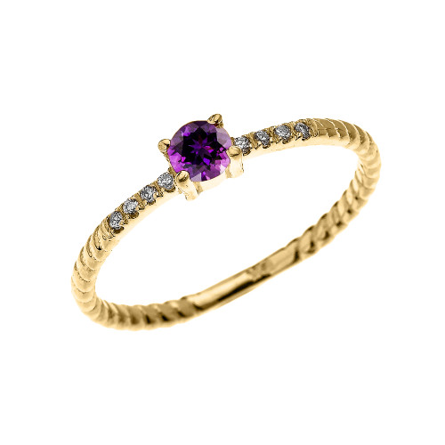 Yellow Gold Dainty Solitaire Amethyst and Diamond Rope Design Engagement/Proposal/Stackable Ring