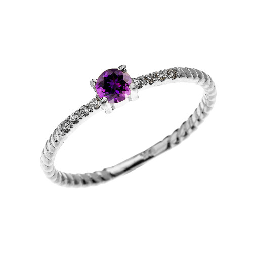 White Gold Dainty Solitaire Amethyst and Diamond Rope Design Engagement/Proposal/Stackable Ring