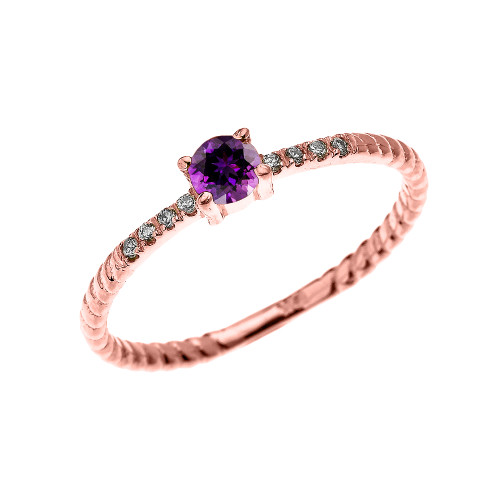 Rose Gold Dainty Solitaire Amethyst and Diamond Rope Design Engagement/Proposal/Stackable Ring