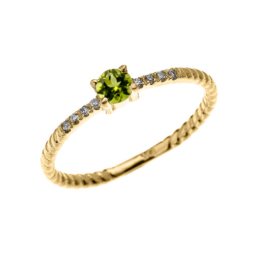 Yellow Gold Dainty Solitaire Peridot and Diamond Rope Design Engagement/Proposal/Stackable Ring