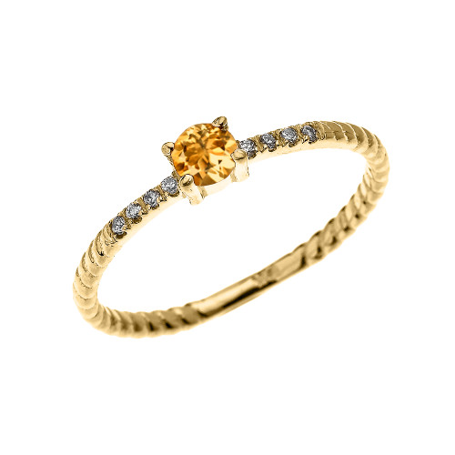 Yellow Gold Dainty Solitaire Citrine and Diamond Rope Design Engagement/Proposal/Stackable Ring