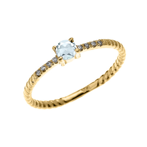 Yellow Gold Dainty Solitaire Aquamarine and Diamond Rope Design Engagement/Proposal/Stackable Ring