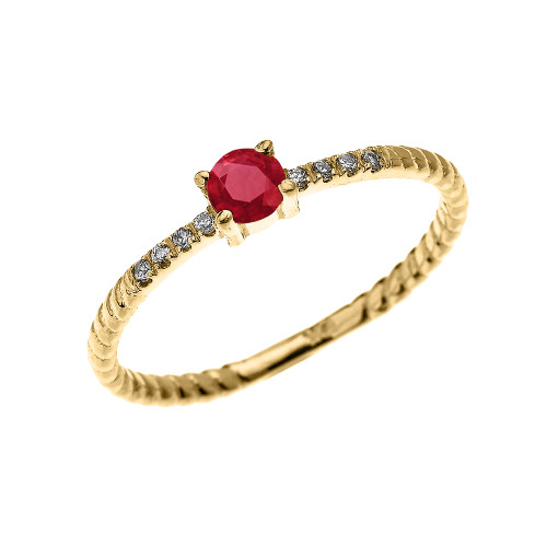 Yellow Gold Dainty Solitaire Ruby and Diamond Rope Design Engagement/Proposal/Stackable Ring