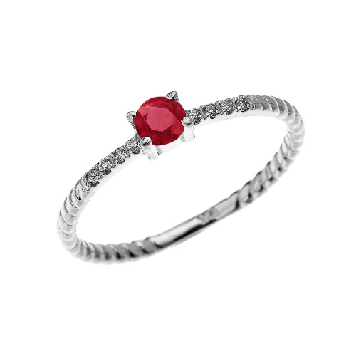 White Gold Dainty Solitaire Ruby and Diamond Rope Design Engagement/Proposal/Stackable Ring