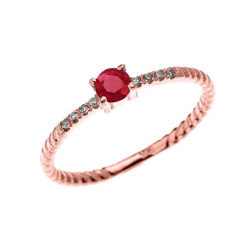 Rose Gold Dainty Solitaire Ruby and Diamond Rope Design Engagement/Proposal/Stackable Ring