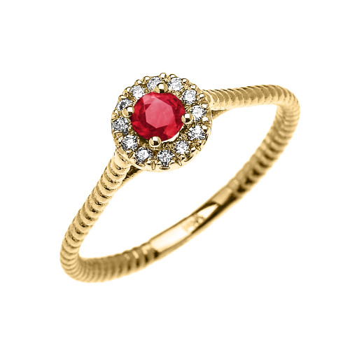 Yellow Gold Dainty Halo Diamond and Ruby Solitaire Rope Design Promise Ring