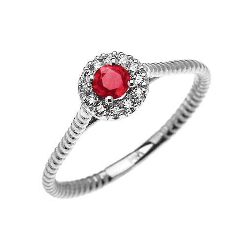 White Gold Dainty Halo Diamond and Ruby Solitaire Rope Design Promise Ring