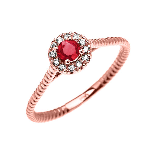 Rose Gold Dainty Halo Diamond and Ruby Solitaire Rope Design Promise Ring