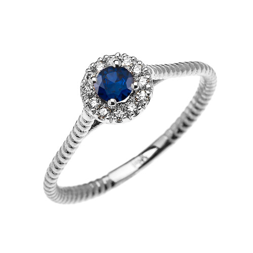 White Gold Dainty Halo Diamond and Sapphire Solitaire Rope Design Promise Ring