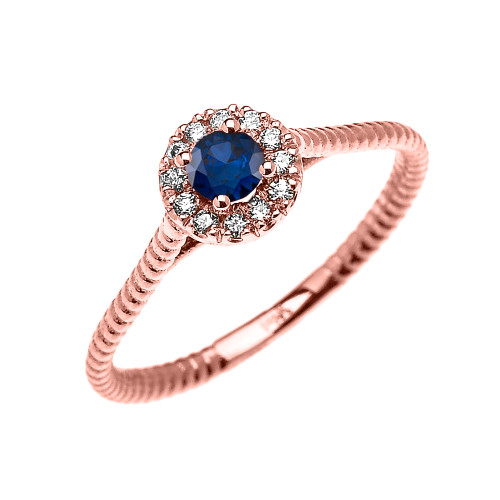 Rose Gold Dainty Halo Diamond and Sapphire Solitaire Rope Design Promise Ring