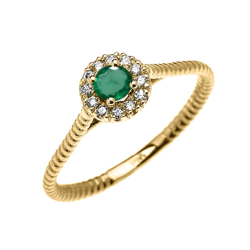 Yellow Gold Dainty Halo Diamond and Emerald Solitaire Rope Design Promise Ring