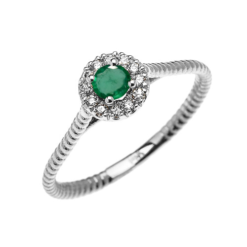White Gold Dainty Halo Diamond and Emerald Solitaire Rope Design Promise Ring