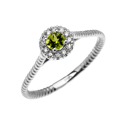 White Gold Dainty Halo Diamond and Peridot Solitaire Rope Design Promise Ring