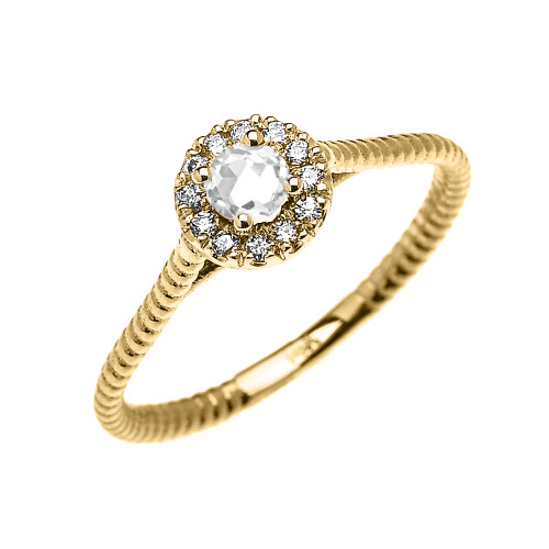 Yellow Gold Dainty Halo Diamond and White Topaz Solitaire Rope Design Promise Ring