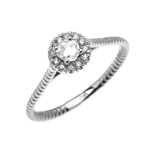 White Gold Dainty Halo Diamond and White Topaz Solitaire Rope Design Promise Ring