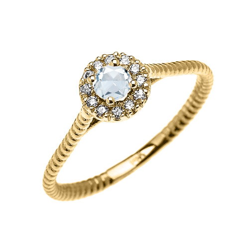 Yellow Gold Dainty Halo Diamond and Aquamarine Solitaire Rope Design Promise Ring