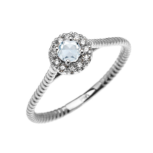 White Gold Dainty Halo Diamond and Aquamarine Solitaire Rope Design Promise Ring