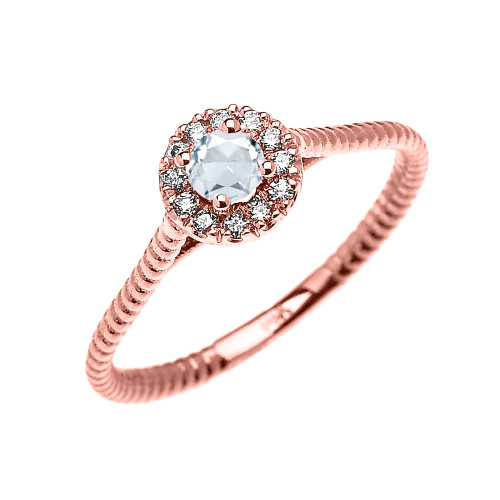 Rose Gold Dainty Halo Diamond and Aquamarine Solitaire Rope Design Promise Ring