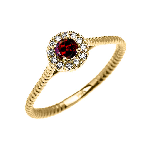 Yellow Gold Dainty Halo Diamond and Garnet Solitaire Rope Design Promise Ring