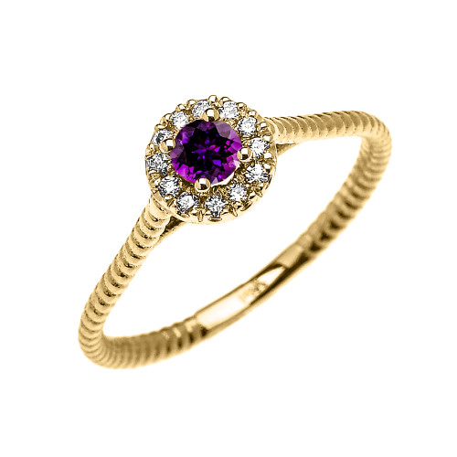 Yellow Gold Dainty Halo Diamond and Amethyst Solitaire Rope Design Promise Ring