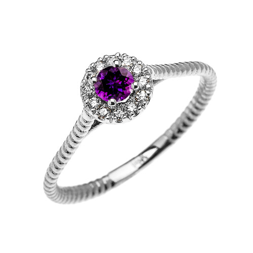 White Gold Dainty Halo Diamond and Amethyst Solitaire Rope Design Promise Ring