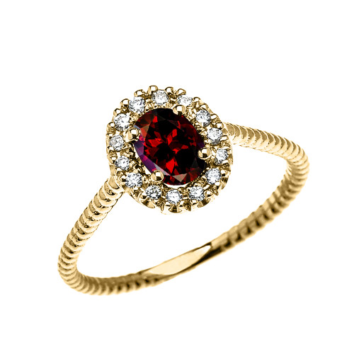 Yellow Gold Dainty Halo Diamond and Oval Garnet Solitaire Rope Design Engagement/Promise Ring