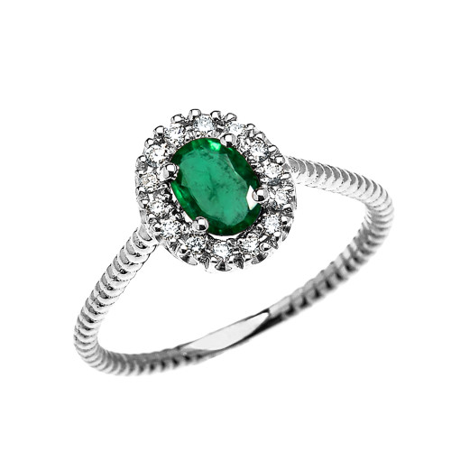 White Gold Dainty Halo Diamond and Oval Emerald Solitaire Rope Design Engagement/Promise Ring