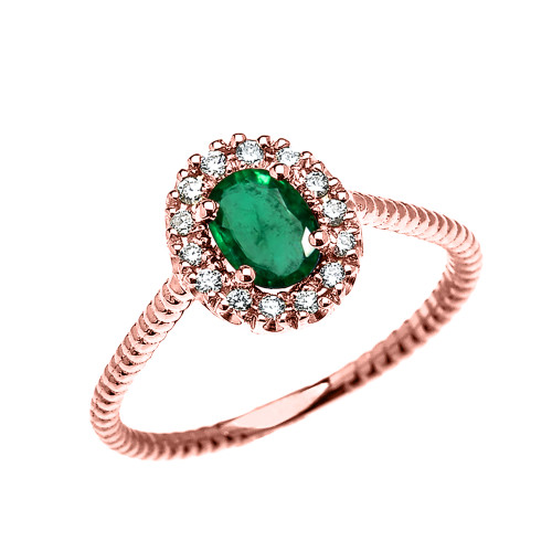 Rose Gold Dainty Halo Diamond and Oval Emerald Solitaire Rope Design Engagement/Promise Ring