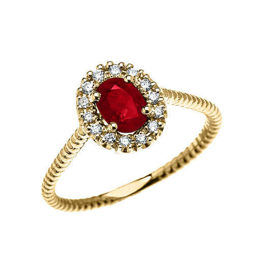 Yellow Gold Dainty Halo Diamond and Oval Ruby Solitaire Rope Design Engagement/Promise Ring