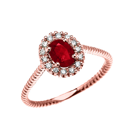 Rose Gold Dainty Halo Diamond and Oval Ruby Solitaire Rope Design Engagement/Promise Ring