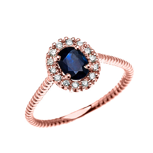 Rose Gold Dainty Halo Diamond and Oval Sapphire Solitaire Rope Design Engagement/Promise Ring