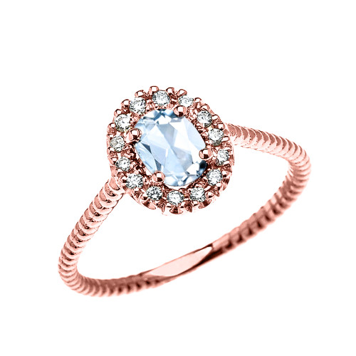 Rose Gold Dainty Halo Diamond and Oval Aquamarine Solitaire Rope Design Engagement/Promise Ring